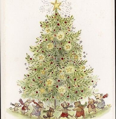 Becky Kelly..fantasy Animals,toys Dance Around Christmas Tree,greeting Card
