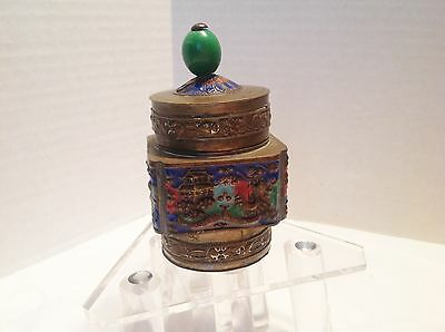 Antique Chinese Brass Cloisonne Enameled Tea Caddy Green Glass Finial-China L@@K