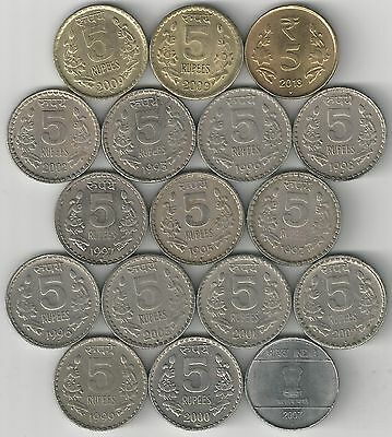 17 DIFFERENT 5 RUPEE COINS from INDIA (4 TYPES/1992C to 2013N)