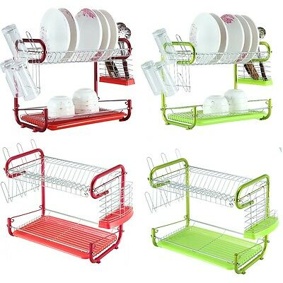 Washing Up Kitchen Sink Dish Plates Drying Rack Cups Cutlery Drainer Drip Tray