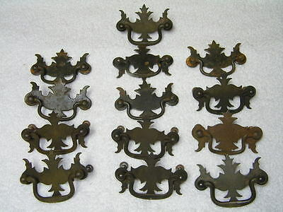 """Antique Estate Lot of 13 Batwing Brass Dresser Pulls with Bail Handles~2 1/2"""""""