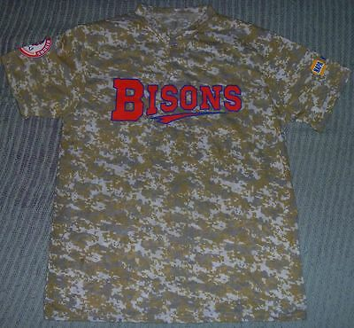 AUTHENTIC 2016 BUFFALO BISONS SGA Camouflage CAMO Jersey-Shirt M/Med Military
