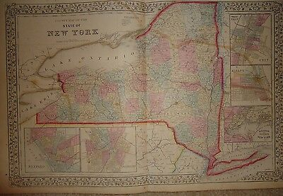 Vintage 1867 New York State Old Antique Atlas Map *Free S&H 1867/111516