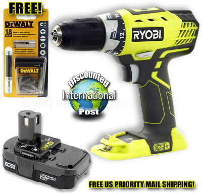 "NEW Ryobi P208B 18V 1/2"" Cordles Drill & 2016 DATE CODE P102 Pack, FREE SHIPPING"