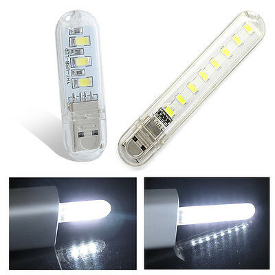 Portable Bright 3 8SMD LED White Night Light USB Reading Bulb Laptop Desk Lamp