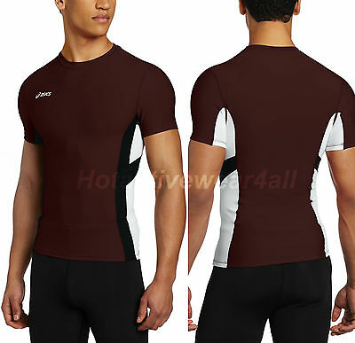 Asics Mens Maroon Anchor Fitness Spandex Short Sleeve Muscle Shirt Medium Large