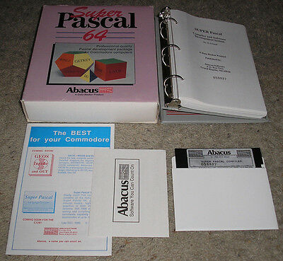 "Super Pascal 64 - Vintage Commodore Computer Software 5.25"" by Abacus COMPLETE!"