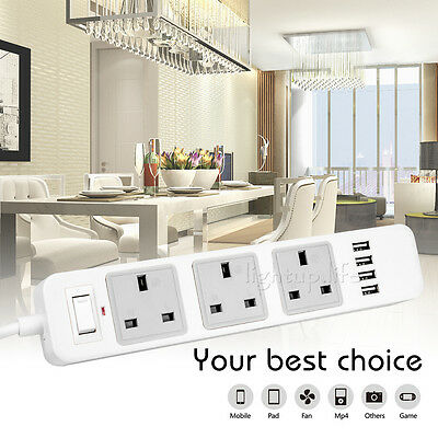 3 Way 4 USB Extension Lead Outlet Power Cable Socket Mains Strip Adapter UK Plug