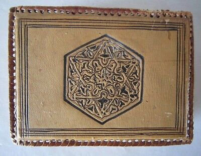 Ca 1900 SPIRITUAL Hand Made LEATHER BOX w/ STAR OF DAVID for Religious Objects