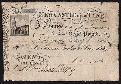 1802 NEWCASTLE UPON TYNE £1 POUND or 20 SHILLINGS BANKNOTE * 5429 * VG *