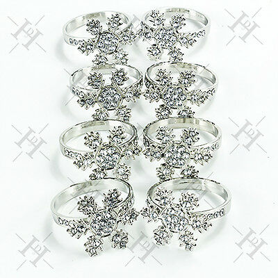 8pcs Christmas Table  Snowflake Diamante Napkin Rings  Decorations Winter Party
