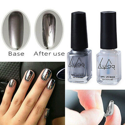 2PCS Silver Metal Mirror Effect Nail Art Polish Chrome Varnish & Base Coat DIY