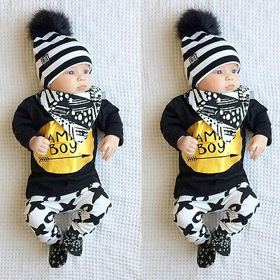 2Pcs Newborn Toddler Kids Baby Boy T-shirt Tops+Long Pants Outfits Clothes Set