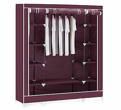 Vinsani Triple Canvas Clothes Cupboard Hanging Rail With Storage Shelves - Red