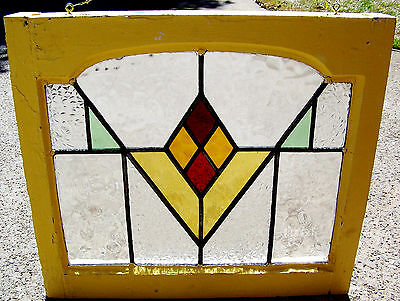 23x21 Old Vtg Arch Art Deco Mission Leaded Stained Glass Window Antique Frame Yw