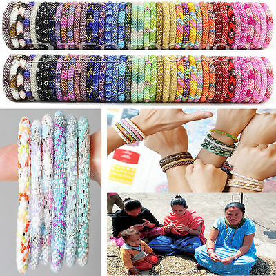 Nepal Bracelet Glass Seed Bead Roll On Crochet Nepal Handmade Bracelets,Laura
