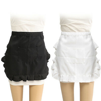 Half Waist Woman's Apron Waitress Kitchen Cooking Cafe Pub Pocket Pinny Frilly