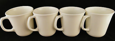 4 Solid WHITE D handle Pyrex Corning Corelle Coffee mugs mug cups MOD vintage