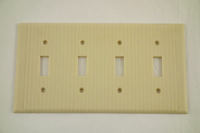 Vintage Ribbed Bakelite Four Switch Plate Cover Ivory