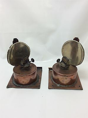 Antique Copper and Brass oil lamp set of 2 small table top