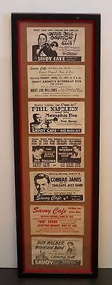Savoy Cafe Boston 1951 Framed Group Of Promotional Illustrated Cards Jazz Music