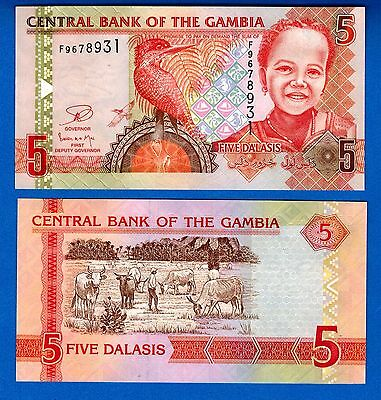 Gambia P-25 Five Dalasias Year ND 2013 Uncirculated FREE SHIPPING
