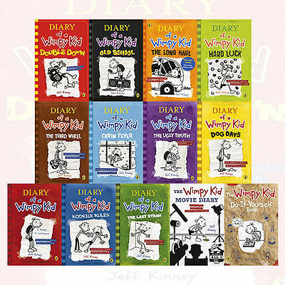 Diary of a Wimpy Kid Collection 13 Books Set By Jeff Kinney Old School,Double ..