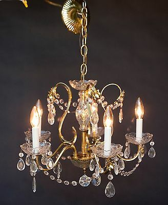 Vintage Spanish Style Gold Brass Glass Crystal Chandelier 5 arm