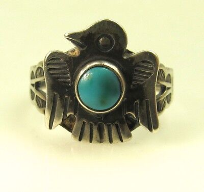 Vintage Fred Harvey Era Thunderbird Sterling Silver Turquoise Ring
