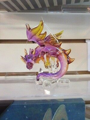 Beautiful hand blown hanging or table top Wizard Glass Dragon #1