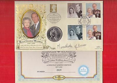 G.B. First day coin cover, 1997, Royal golden wedding, Signed Mountbatten.