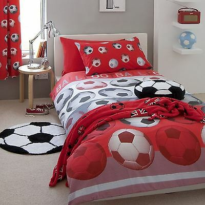Red Football Single Duvet Cover Set Catherine Lansfield Kids Bedding Boys