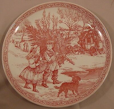 Gathering The Tree  No Box Plate 1 in Victorian Christmas Pink & White by Spode