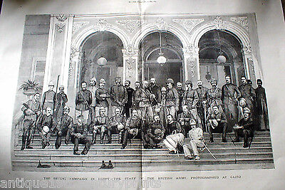 The Staff Of The British Army At Cairo Egypt Large Rare Engraving Print - 1882