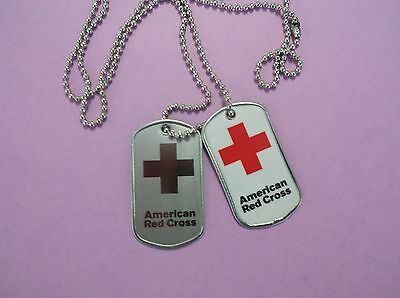 American Red Cross ~ Set Of 2 Dog Tags ~ Dogtags - New!!  Scarce!!