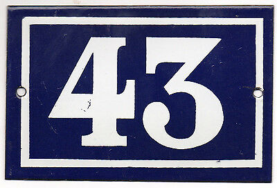 Old blue French house number 43 door gate plate plaque enamel metal sign steel