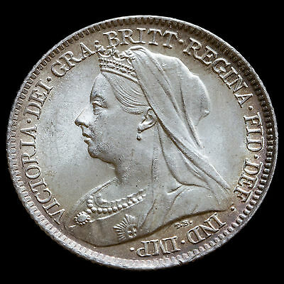 1899 Queen Victoria Veiled Head Silver Sixpence – UNC