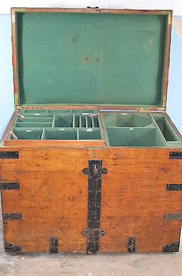 Large Victorian  Oak & Iron Bound Silver Chest  Elkington  With  Fitted Interior