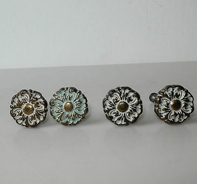 4 Vintage  Brass White Paint Ornate Rosette Drawer Pulls Handles 1 1/4""