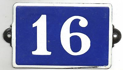 Old blue French house number 16 door gate plate plaque enamel steel metal sign