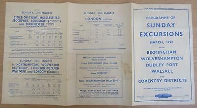Br 1952 Midlands Sunday Excursions Timetable & Fares Double Sided Handbill