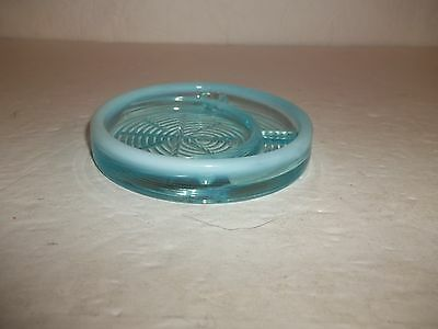 Teal Turquoise Blue Opalescent Glass Bottoms Up Coaster Only Final Sale CH