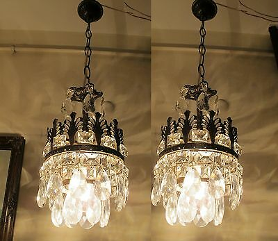 PAIR OF Antique VNT.Small French Basket Style Crystal Chandelier Lamp 1940's.7in