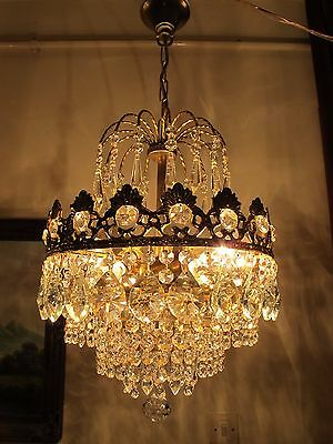 Antique French Basket Style Asfour & Bohemia Crystal Chandelier Lamp 1940's 12in