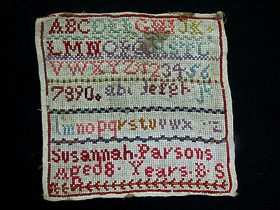 Small Antique Sampler Signed by Susannah Parsons 8 years old