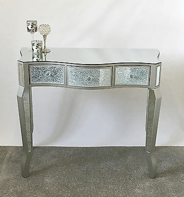 Champagne Silver Crackle Mosaic Mirrored Glass 3 Drawer Console Dressing Table