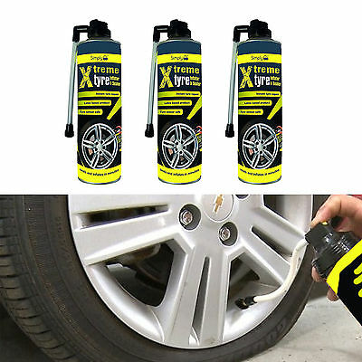 3 x Tyre Weld Tire Seal 500ml Emergency Repair For Riley 26390