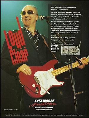 The Who Pete Townshend Fishman pickups on Fender Stratocaster guitar 8 x 11 ad