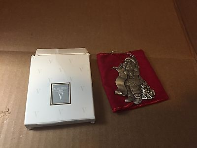 "1996 Avon pewter Christmas ornament ""Santa's Arrival"" w/ pouch + box"
