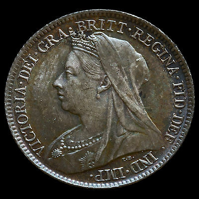 1896 Queen Victoria Veiled Head Silver Sixpence – Scarce – UNC